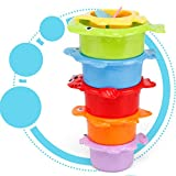 autumn-wind Baby Bath Toys,Kids Funny Colorful Cup Stacking Tower Counting Mugs Count Number Toy for Baby Early Educational