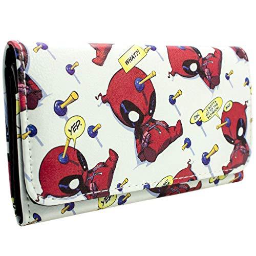 Marvel Deadpool Chibi Quote Bubbles Weiß Portemonnaie Geldbörse (Kostüm Neue Deadpool)