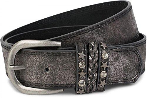 styleBREAKER Gürtel im Vintage Look mit Schmuckband an der Schließe, Ziehrnähte, Nieten, Strass, kürzbar, Unisex 03010062, Farbe:Antik-Dunkelgrau;Größe:85cm