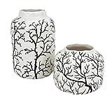 LIV INTERIOR 2X Deko Vase Blumenvase Branch aus Keramik Schwarz Weiß, 8 + 14cm, handgefertigtes Design Tischvase Dekovase Wohndeko