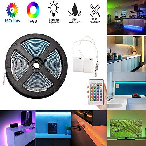 LED-Streifenlichter, flexible 5M / 16.4ft-TV-Hintergrundbeleuchtung, batteriebetriebenes, wasserdichtes RGB-LED-Seil mit 24 Tasten und 2 Batterie-Netzteilen für Küche, Schlafzimmer, Schrank, Spiegel