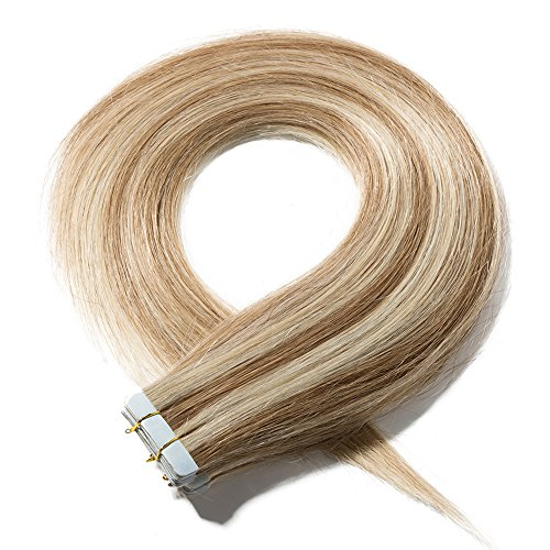 Extension capelli veri biadesivo adesive 20pcs 50g/set 100% remy human hair 40cm - tape in hair extensions biadesive allungamento, 12/613 marrone chiaro mix biondo