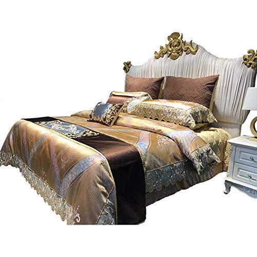 Jazz-Stil Queen Size Bett tröster, Bett in Einem Beutel Gold, Jacquard Muster 8 stück Bettwäsche-Sets Ultra Soft Mikrofaser Schlafzimmer Bettdecken-A King - Einem Beutel Mikrofaser Aus King-size-bett In
