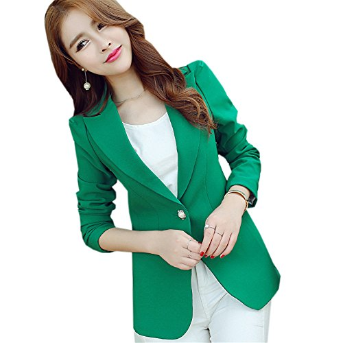 DaBag Damen Herbst Business Blazer Eleganter Schwarz Kurzjacke Plain Langarm Knopf Outwear (M, Grün) (Lammfell-ein-knopf-blazer)
