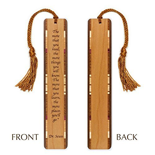 Engraved Wooden Bookmark - Dr. Seuss Reading and Learning Quote with Tassel