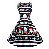 Weihnachtenkleid Damen Vintage Ärmelloses Kleid Elegant Abendkleid Weihnachten Party Kleid Cocktailkleid Festlich Drucken Minikleid Kleidung von Sannysis