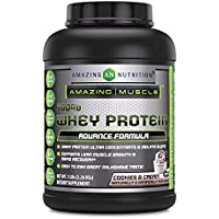 Amazing Muscle 100% Whey Protein Powder - 5 Lbs - Advance Formula - High Performance - With Complete Array Of Amino-Acids - Delicious Cookies & Cream Flavor