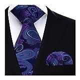 Hisdern Extra lange Blumen Paisley Krawatte Taschentuch Herren Krawatte & Einstecktuch Set Blau & Gr¨¹n & Lila