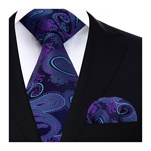 HISDERN Extra largo Floral Paisley lazo del panuelo Hombres Corbata & Plaza de bolsillo Conjunto Azul/verde/morado