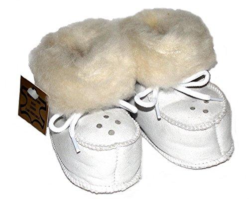 Sapatos De Bebê De Pele De Cordeiro Branco