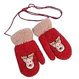 Huhu833 Kleinkind Baby Mädchen Jungen Handschuhe Little Deer Print Winter warme Weihnachten Kinder Handschuhe (Rot)