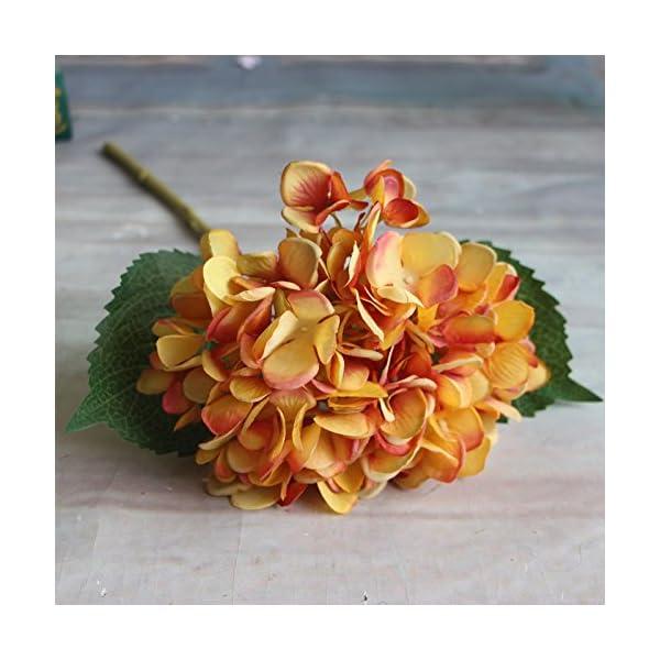 Calcifer – Ramo de flores artificiales de hortensia de 17.72 pulgadas para decoración del hogar/boda, Amarillo, Package…