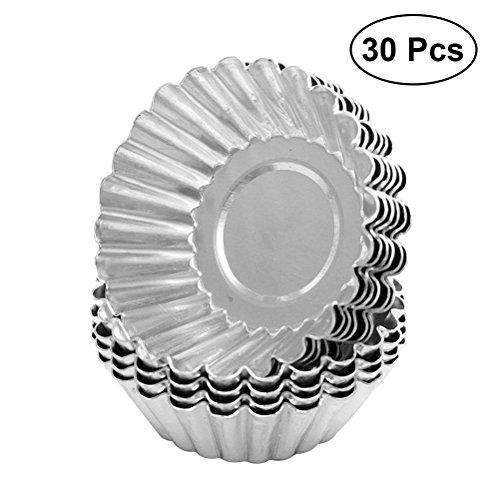 BESTONZON 30pcs Ei Torte Form Non Stick Aluminium Cupcake Kuchen Cookie Pudding Zinn Form ausgekleidet Form Zinn Backwerkzeug (Mini-tarte-kuchenform)
