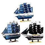 SM SunniMix 3 Stü Nautische Schiffsmodell Piratenschiff Aus Holz, Büro Arbeitszimmer Deko