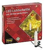 Idena 38192 - LED Kerzenlichterkette mit 30 LED in warm weiß, 30 Kerzen mit Klemmen, perfekt für den Weihnachtsbaum, ca. 16 m