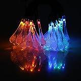 20er LED Solar Lichterkette mit Dauerlicht-/Blinklichtmodus RGB PartylichterketteWeihnachtslichterketten Weihnachtsbeleuchtung Deko für Innen Außen Balkon Garten Party Weihnachten Wassertropfen 3.8M
