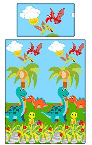 babies-island ein 2-teiliges Bettwäsche-Set Kissenbezüge + Bettbezug für Baby Kleinkind zu Babybett/Kinderbett–Dinosaurier Pterodaktylus
