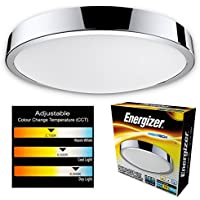 Energizer LED bathroom ceiling light CCT - Waterproof IP44 Colour temperature changing light fitting - Switch from 2700K Warm white to 4000K Cool white to 6000K Daylight