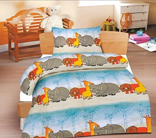 2-Teilige wunderschöne lustige Renforcé- Kinderbettwäsche Oase 1x 100x135 Bettbezug + 1x 40x60 Kissenbezug , 100% Baumwolle