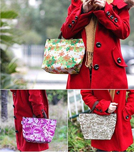 BZLine® Frauen Leinwand Paket Portable wasserdichte Mittagessen Taschen A