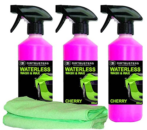 dirtbusters-waterless-car-wash-and-wax-cherry-3-x-500ml-1-spray-and-2-refills-and-2-microfibre-cloth