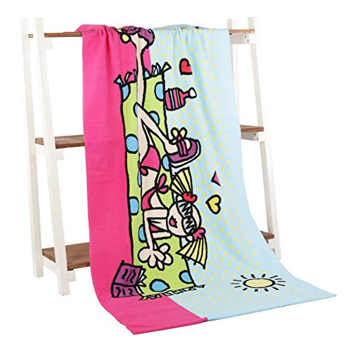 LIXIFF Baumwolle Große Strandtuch Blatt Urlaub Camping Reise Kostüm Handtücher Fitnessraum Sauna Handtuch Strand Badetuch, Sonnenschein Mädchen (Kostüm Sauna)