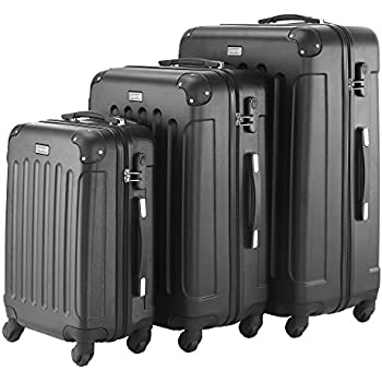 VonHaus Black 3pc Hard Shell ABS Trolley Suitcase Luggage Set with ...
