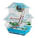 Xinxinchaoshi Cage à Oiseaux de Toit sur Trois Niveaux de 48 cm de Hauteur pour Perroquet Petits Oiseaux avec bac Coulissant 1 Fontaine d'eau Potable et 2 gobelets