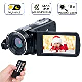 Digital Camcorder with IR Night Vision, iBacakys Portable Mini Handheld Video Camera 24.0 Mega Pixels DV 3' LCD Screen 18X Digital Zoom ((Two Batteries Included)