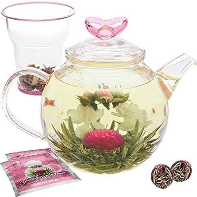 Teabloom Service à thé et Fleurs de thé Eternal Love de la Marque Théière en Verre 1000 ML, Couvercle en Forme de cœur, réchaud à thé, infuseur pour thé en Feuilles et 2 Fleurs de thé