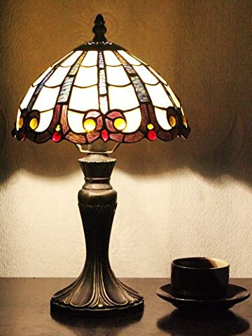 Gweat 8-Inch Pastoral Stained Glass Tiffany Baroque Style Coloured Beads Table Lamp Bedroom Lamp Bedside Lamp