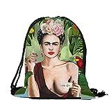 Dunbasi Frida Kahlo Taschen Kordelzug Rucksack für Damen,Turnbeutel,Sporttasche,Schultaschen,Mode Sportbeutel Reittasche (D)