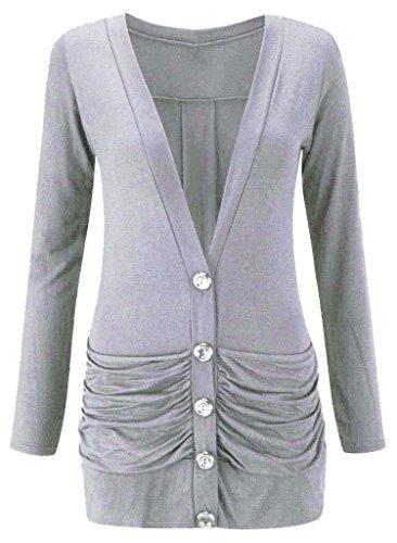 Momo&Ayat Fashions -  Cardigan  - cardigan - Maniche lunghe  - Donna Grey