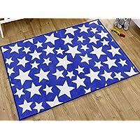 Blue and White Stars Rug 100 x 150 cm