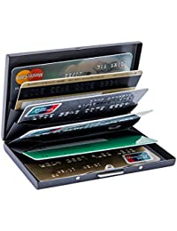 Stadux Metal Card Holder Wallet for Men and Ladies,RFID Blocking Credit Card Wallet with Robust Snap-Shut Clasp,Best Card Protector with 6 PVC Slots