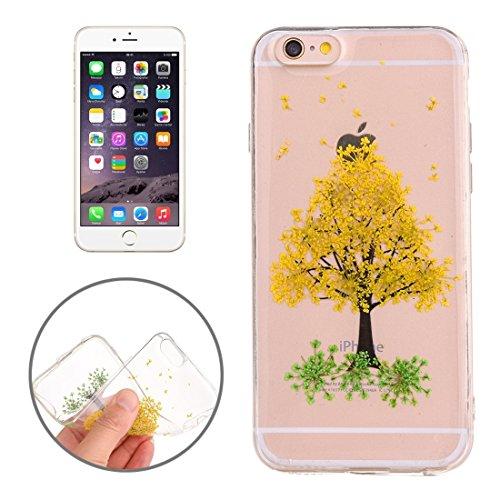 Easy go shopping custodia protettiva in tpu trasparente rigata con fiore reale essiccato a gocciolamento epossidico per iphone 6 e 6s (sku : ip6g2996a)