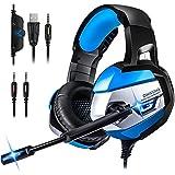 ONIKUMA Gaming Headset HD Stereo Noise Cancelling Über Ohr Kopfhörer Mit Mikrofon Und LED-Licht Weichen Speicher Ohrenschützer