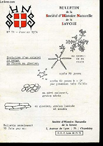 BULLETIN DE LA SOCIETE D'HISTOIRE NATURELLE DE LA SAVOIE / N°71 - JAnvier 1976 / Evolution d'un cristal de neige du flocon glacier - Avalanches et refroidisselements des climats etc...