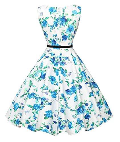 Retro War Dünne Taille Große Schaukel Kleid Blue