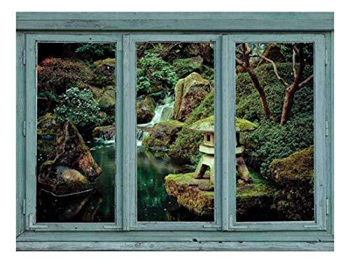 TANGGOOD Vintage Teal Fenster mit Blick auf einen See mit einem Wasserfall und kleinen Schrein Statue - Fototapete, abnehmbare Aufkleber, Inneneinrichtungen - 24 x 32 Zoll -