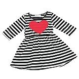SOMESUN Herz Gestreiftes Kleid Sundress Dress Girls Baby (4Jahre, schwarz)