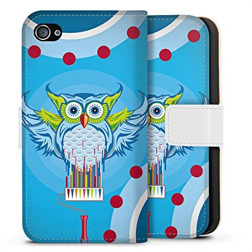Apple iPhone X Silikon Hülle Case Schutzhülle Eule Bunt Comic Sideflip Tasche weiß