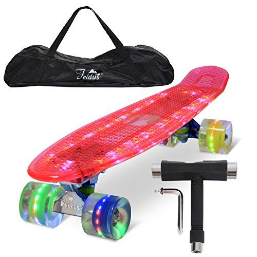 """Feldus 22\"""" Retro Skateboard Komplett Fertig Montiert mit Tasche und T-Tool (Deck LED Pink/ LED Räder in 4 Farben)"""