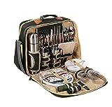 LHY TRAVEL 4-Personen-Picknick-Rucksack mit Kühltasche, 37-TLG. Speiseset Besteck und Zubehör für Weingläser   Reisen für Familien Camping im Freien