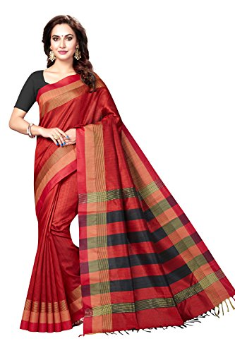 Rani Saahiba Women's Art Dupion Silk Zari Border Saree ( ASH6_Red )