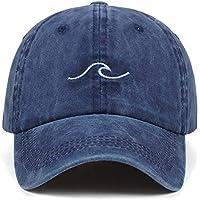 Sombrero Washed Wave Dad Hat for Mujer Bordado de algodón línea Ondulada Gorra de béisbol Hombres Hip Hop Cap Snapback Hat Sea Sports Cap Bone Garros (Color : Navy Blue)