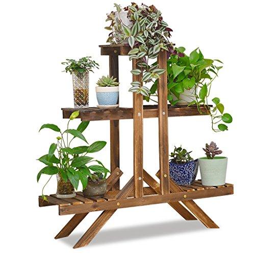 WKK GJ@ Holz-3-Schicht-Pflanzenständer und Topfstand Stehen Display-Ständer