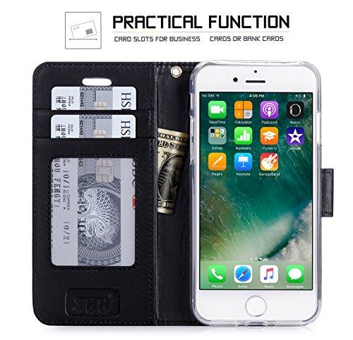 iPhone 8 Hülle , iPhone 7 Hülle, Fyy® [RFID Blockierender Geldbeutel] 100% handgenähter Geldbeutel mit Kartenhaltern für Apple iPhone 8 / 7 , Gold B-Schwarz