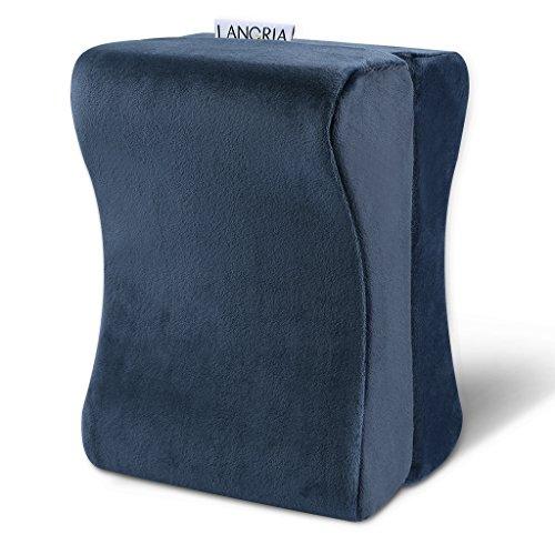 LANGRIA Almohada para Rodillas, Almohada para Piernas, de Espuma de Memoria, Antibacteriano, Con Cubierta Deseenfundable, Certificado de CertiPUR-US, 9.8 x 5.9 x 7.0 pulgadas, Color Azul