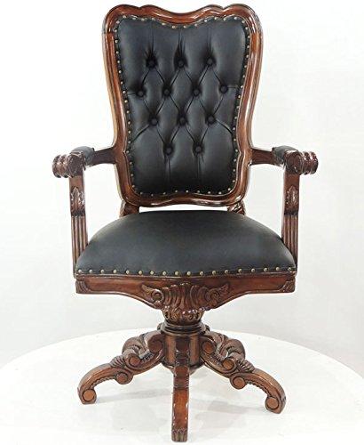 MOREKO Massiv-Holz Drehstuhl Mahagoni Bürostuhl Antik-Stil Schreibtisch-Stuhl schwarz